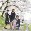 大阪 お宮参り 格安 出張撮影 桜 家族写真