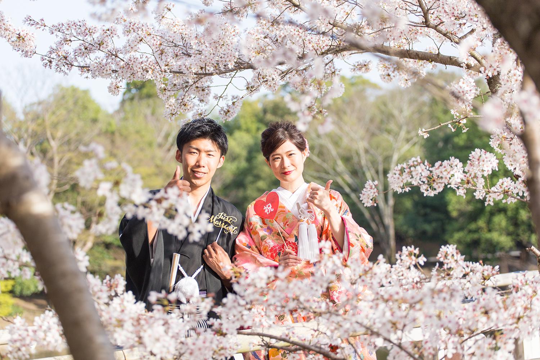 奈良公園 浮見堂 和装 前撮り 桜 笑顔